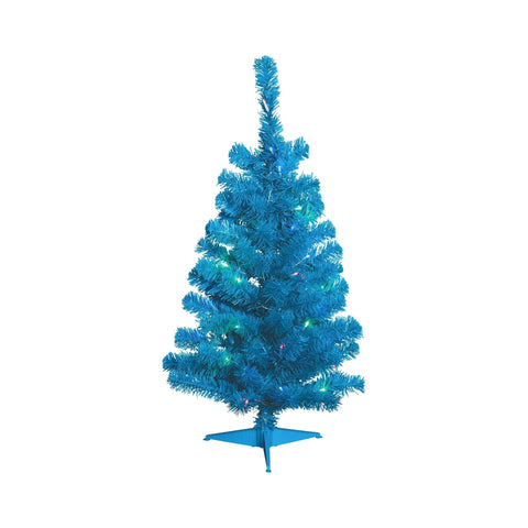 NOMA 3 Ft Blue Table Top Tree with Lights on White Background