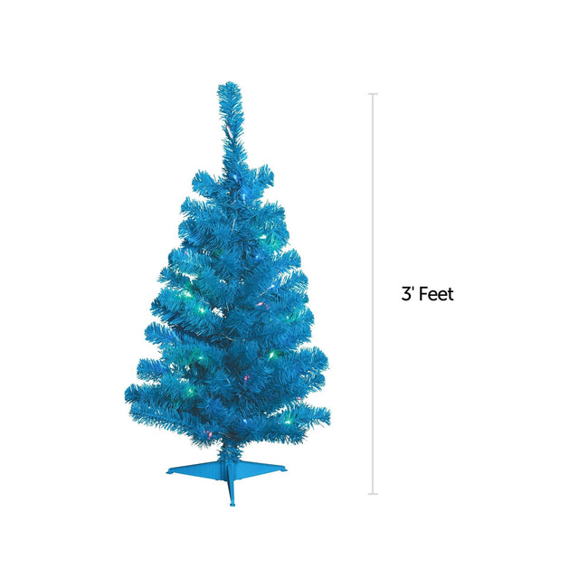NOMA 3 Ft Blue Table Top Tree with Warm White Lights With Measurement Line on Right indicating 3 Feet. White Background