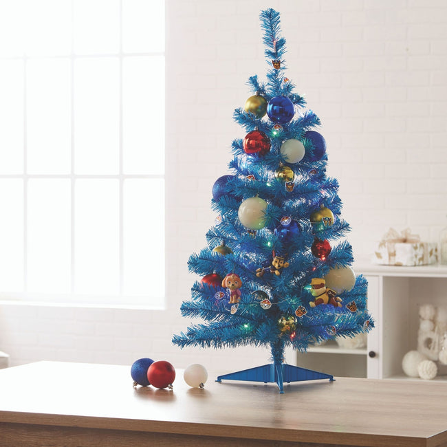 technology-Blue Table Top 3-Ft Christmas Tree - White/Multi-Color LED Lights