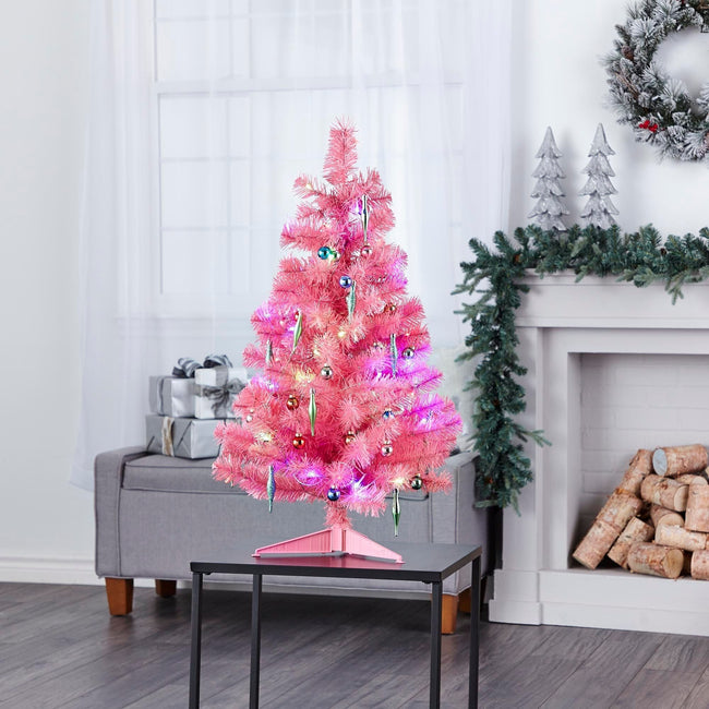 technology-Pink Table Top 3-Ft Christmas Tree - White/Multi-Color LED Lights