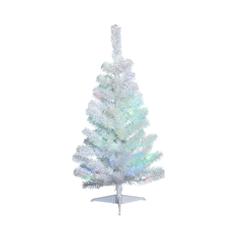 NOMA 3 Ft White Table Top Tree with Lights on White Background