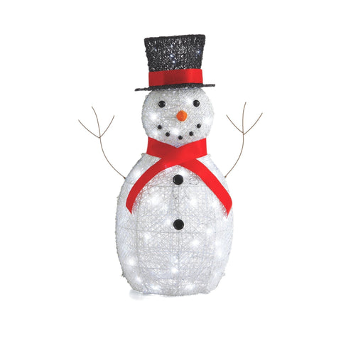 NOMA 3 Ft Classic Snowman with Top Hat and Red Scarf Wireform - Christmas Lawn Decor. White Background