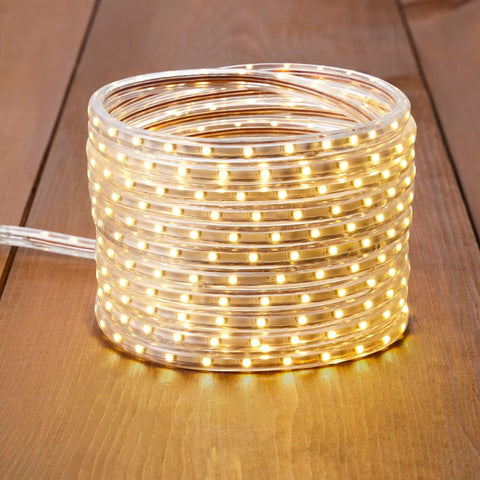 NOMA 23 Ft Flexible LED Rope Light - Warm White, Coiled Stack on Wooden Floor