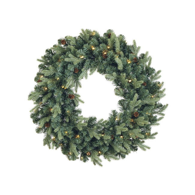 NOMA Mini Pinecone Wreath with Warm White Lights on White Background