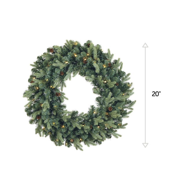 NOMA Mini Pinecone Wreath with Warm White Lights. Vertical Line on Right Side Indicating 20-Inch Length. White Background