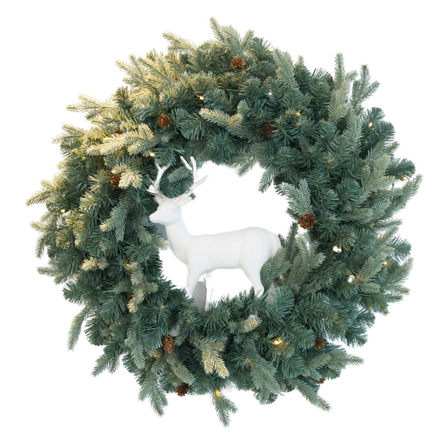 NOMA Mini Pinecone Wreath with Small White Deer Sculpture in Center. White Background