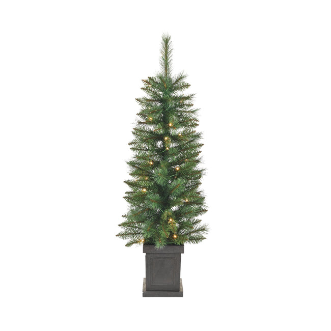 NOMA 4 Ft Farrow Potted Christmas Tree with 35 Warm White LED Bulbs. White Background
