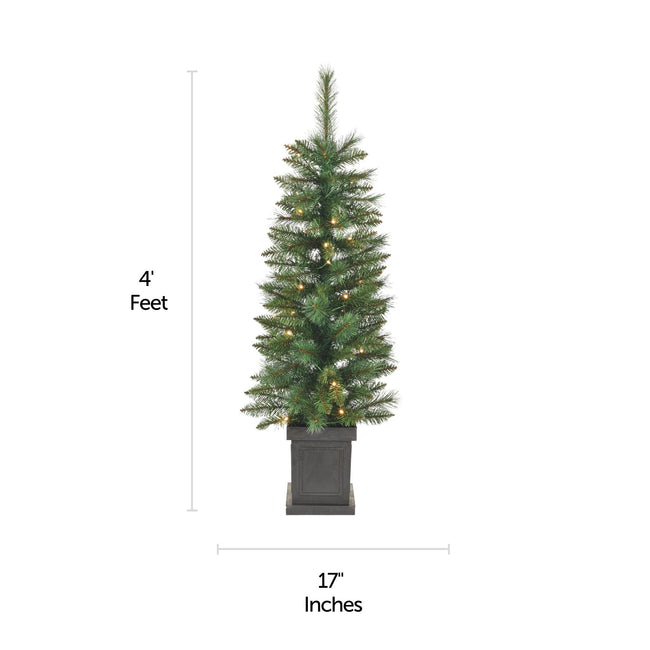 NOMA 4 Ft Farrow Potted Christmas Tree with Horizontal and Vertical Lines indicating measurements. White Background