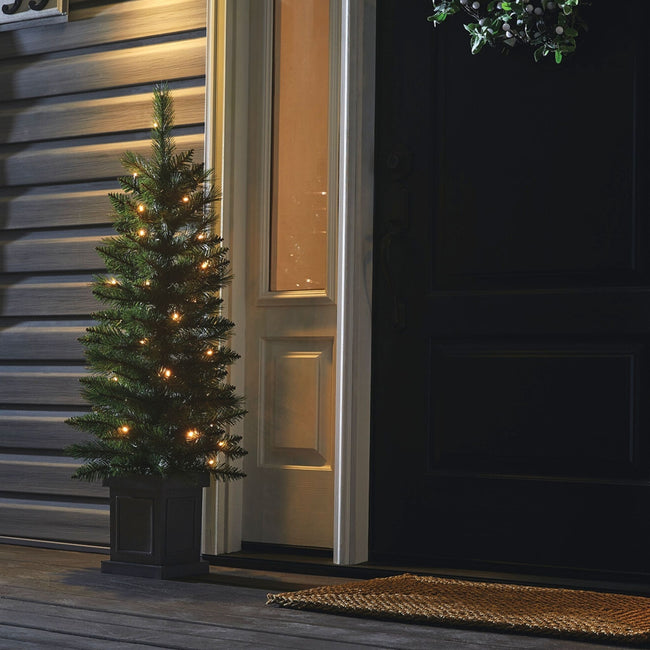 technology-Farrow 4-Ft Potted Entryway Christmas Tree - 35 Warm White LED Lights