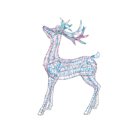 NOMA 4 Ft Pre-Lit Incandescent Deer with 105 Cool White Lights. Christmas Lawn Decor. White Background.