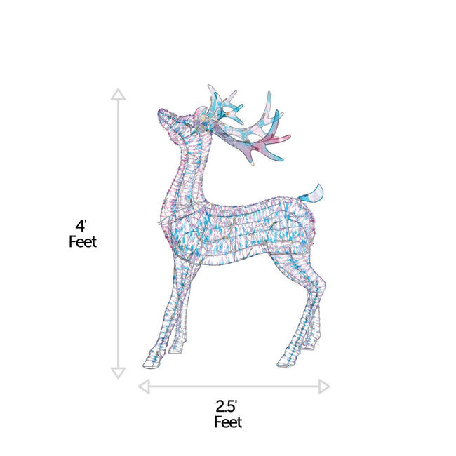 NOMA 4 Ft Pre-Lit Incandescent Deer with 105 Cool White Lights. Christmas Lawn Decor. Horizontal and Vertical Lines Indicating Measurements of Deer. White Background.