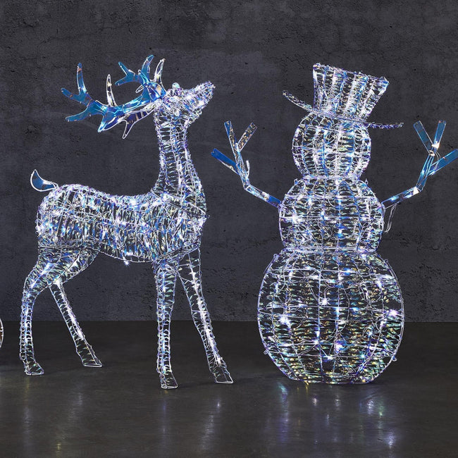 NOMA Iridescent Deer and Snowman, Pre-Lit Cool White LED Lights. Grey Wall in Background