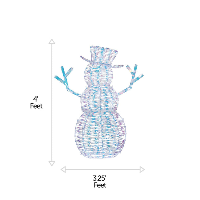 NOMA Pre-Lit Iridescent Snowman with 105 Cool White LED Lights. Horizontal and Vertical Lines Indicating Measurements of Snowman. White Background