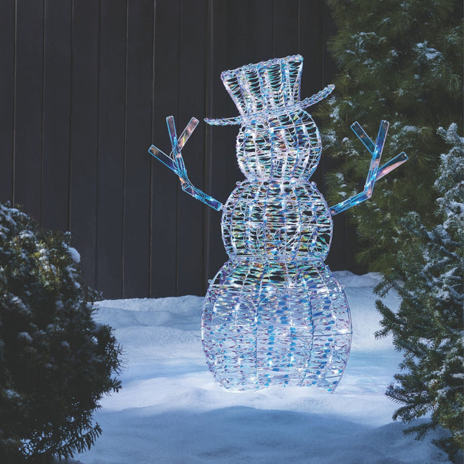 technology-Iridescent Snowman Pre-Lit LED Christmas Lawn Décor