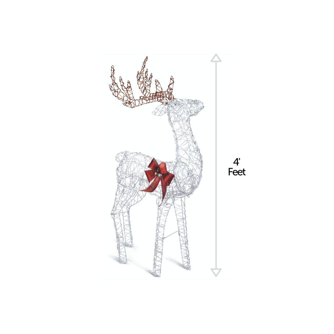 NOMA 4 Ft Pre-Lit Micro-Brite LED Reindeer - Christmas Lawn Decor. Vertical Line on Right Indicates 4 Ft Height Measurement of Deer. White Background