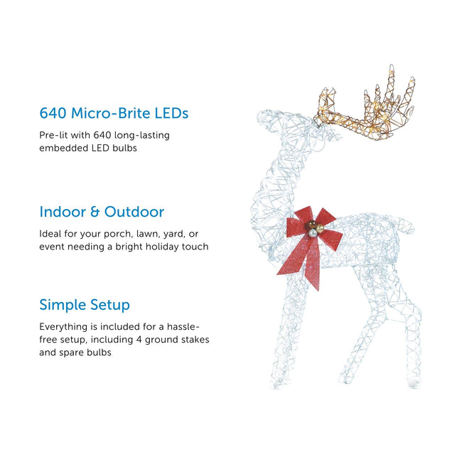 3 Feature Call Outs on Left Side of Image.  Micro-Brite Deer on Right Side of Image. White Background