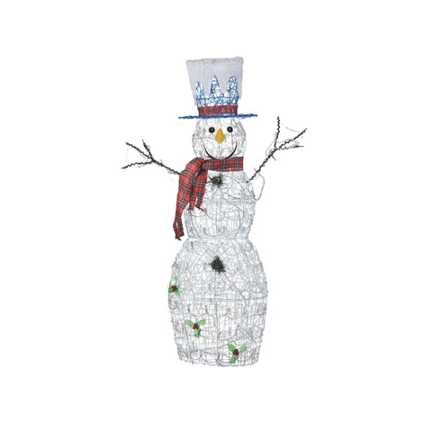 NOMA 4 Ft Pre-Lit Twinkling Snowman with Top Hat, Red Scarf, 140 Pure White Bulbs. White Background.