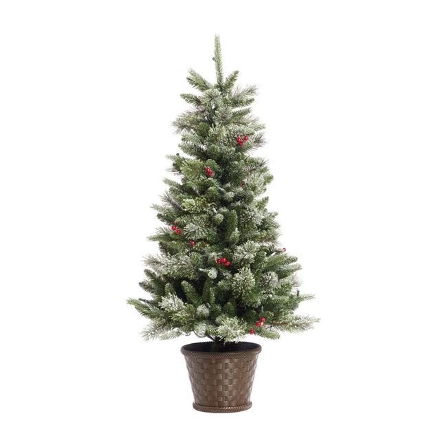 NOMA 4 Ft Snow Dusted Jackson Potted Christmas Tree with 80 LED Lights. White Background