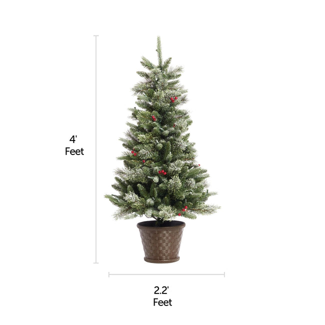 NOMA 4 Ft Snow Dusted Jackson Potted Christmas Tree. Horizontal and Vertical Lines on Left to Indicate Measurements. White Background