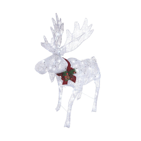 NOMA 4 Ft Pre-Lit Moose with Red Scarf and Lights. Christmas Lawn Decor. White Background.