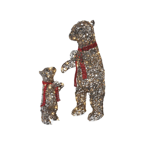 NOMA Pre-Lit Mom & Baby Bear with Red Scarves - 200 & 70 Warm White LED Lights.. White Background.