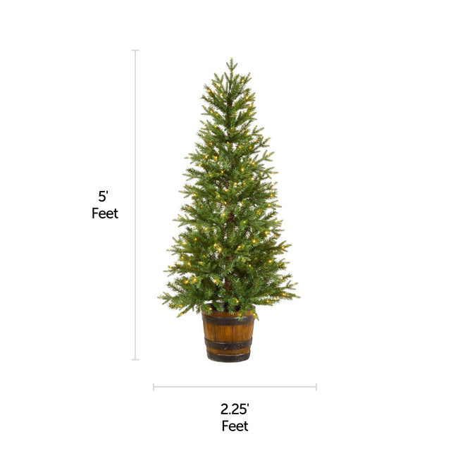 NOMA 5 Ft Arctic Spruce Potted Christmas Tree with a horizontal and vertical indicating size measurements. White Background