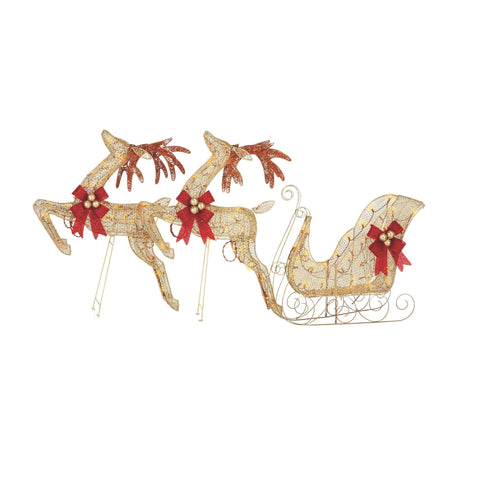 NOMA Pre-Lit Golden Reindeer and Sleigh, 3 Pack - 70 Incandescent Warm White Lights. White Background.