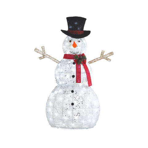 NOMA 5 Ft  Pre-Lit Snowman with Top Hat and Red Scarf. White Background