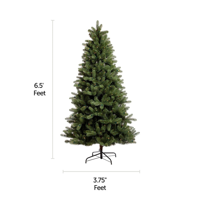 NOMA 6.5 Ft Hudson Spruce Christmas Tree with Lights. Horizontal and Vertical Lines Indicating Tree Measurements. White Background.