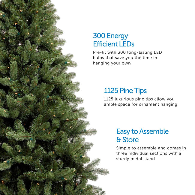 Close-Up of Hudson Spruce Christmas Tree on Left Side of Image. 3 Feature Call Outs on Right Side. White Background