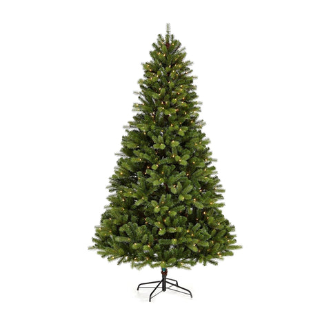 NOMA 7 Ft Durand Pine Christmas Tree with 400 Warm White Incandescent Lights. White Background