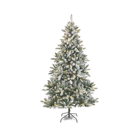 NOMA 7 Ft Flocked Cypress Christmas Tree with 350 Color-Changing LED Lights. White Background.