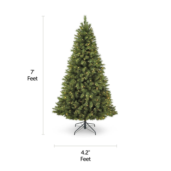 NOMA 7 Ft Henry Fir Christmas Tree with Warm White Lights. Horizontal and Vertical Lines Indicating Tree Measurements. White Background.
