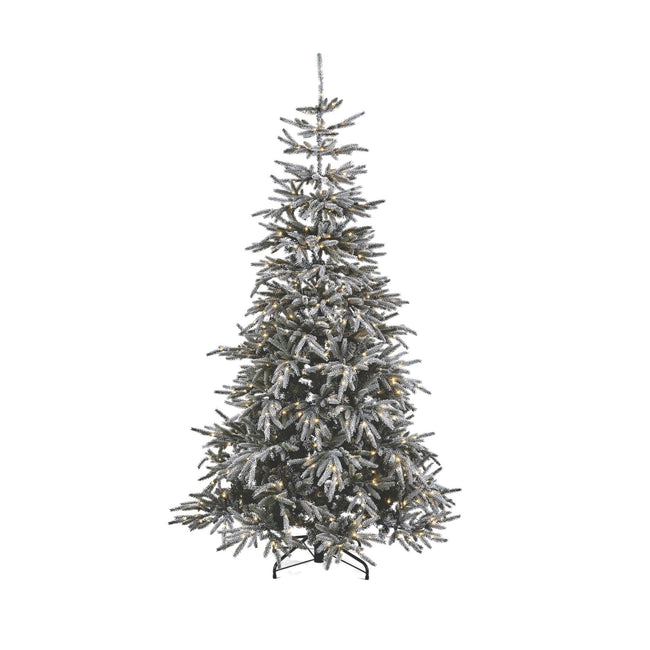 NOMA 7 Ft Snow Dusted Alpine Christmas Tree with 650 Micro-Brite LED Lights. White Background.