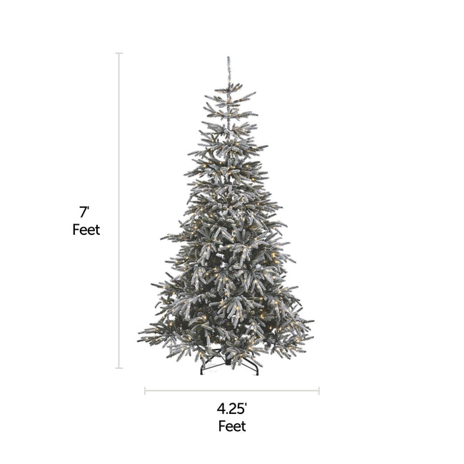 NOMA 7 Ft Snow Dusted Alpine Christmas Tree with 650 Micro-Brite LED Lights. Horizontal and Vertical Lines Indicating Tree Measurements. White Background.