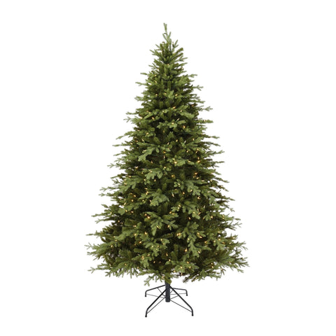 NOMW 7.5 Ft Appalachian Pine Christmas Tree with 600 Color Changing Lights. White Background