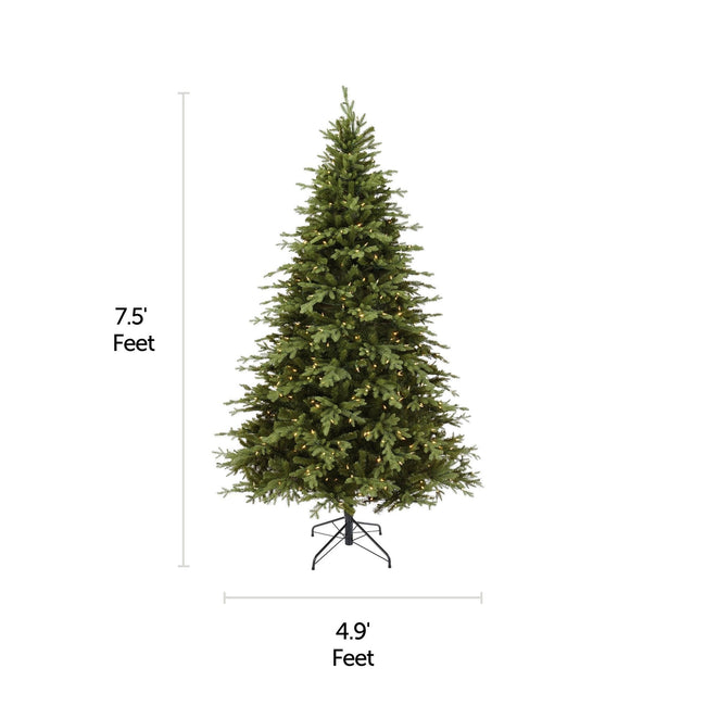 NOMW 7.5 Ft Appalachian Pine Christmas Tree with 600 Color Changing Lights. Horizontal and Vertical Lines Indicating Tree Measurements. White Background