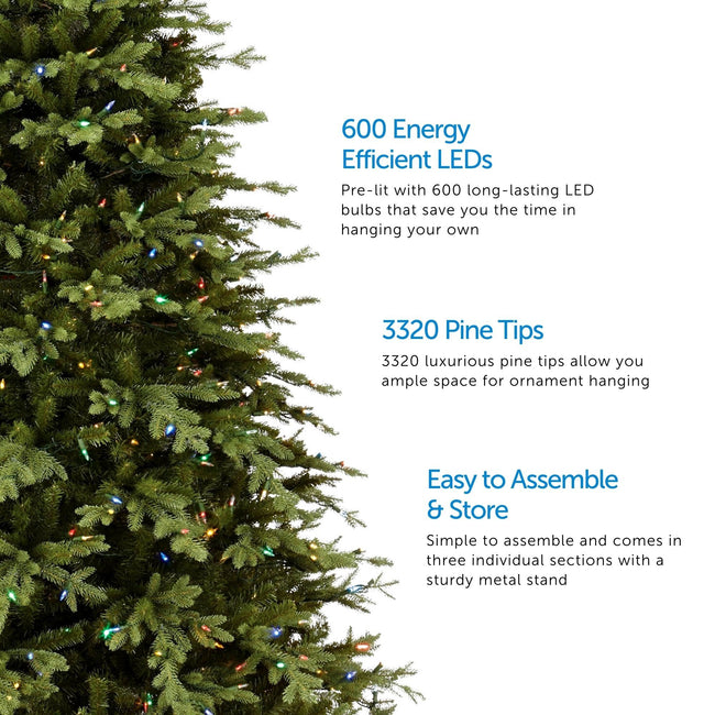 Partially Visible Appalachian Pine Christmas Tree with Multi-Color Lights on Left Side. 3 Feature Call Outs on Right Side of Image. White Background