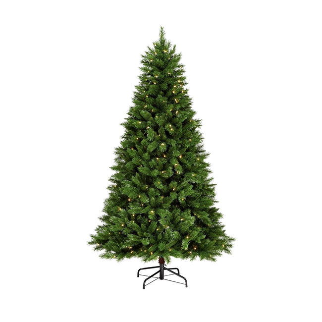 NOMA 7.5 Ft Collins Pine Christmas Tree with 300 Warm White LED Lights. White Background