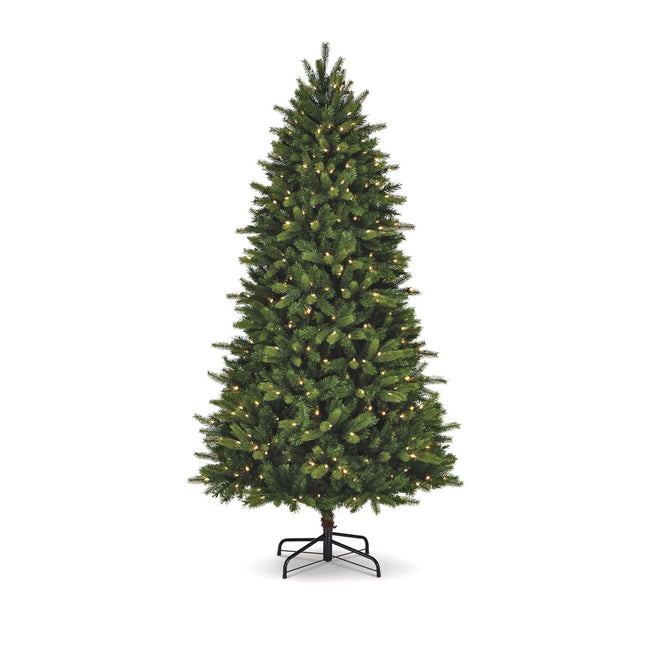 NOMA 7.5 Ft Colorado Pine Christmas Tree with Warm White LED Lights. White Background