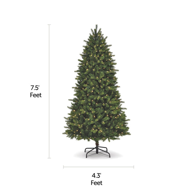 NOMA 7.5 Ft Colorado Pine Christmas Tree with Warm White LED Lights. Horizontal and Vertical Lines Indicating Tree Measurements. White Background