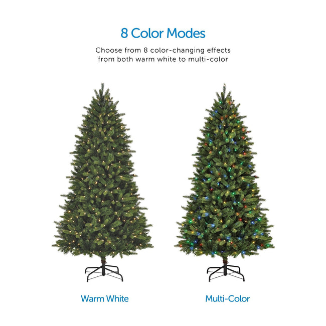 Color Mode Feature Call Out, Top Center of Page. Two Colorado Pine Tree Images in Center one Depicting Warm White Lights, The Other with Multi-Color Lights. White Background