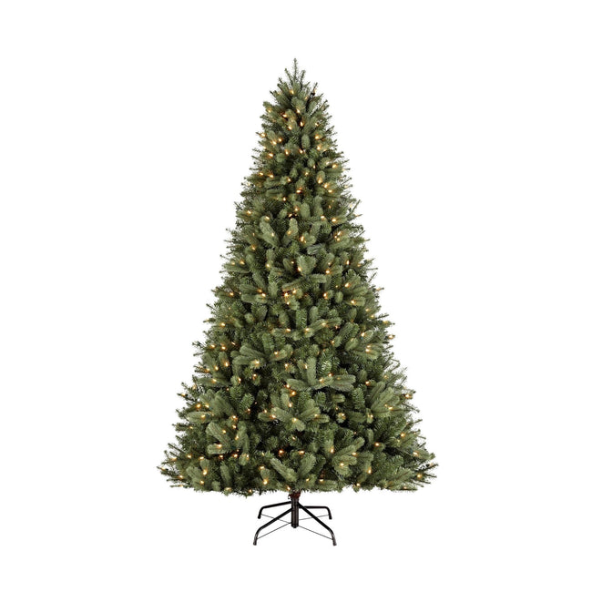 NOMA 7.5 Ft Winston Spruce Christmas Tree with 500 Warm White LED Lights. White Background.