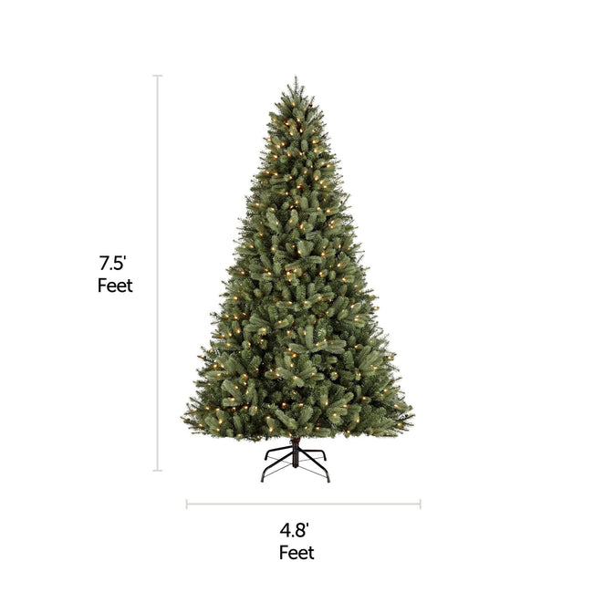 NOMA 7.5 Ft Winston Spruce Christmas Tree with 500 Warm White LED Lights. Horizontal and Vertical Lines Indicate Tree Measurements. White Background.