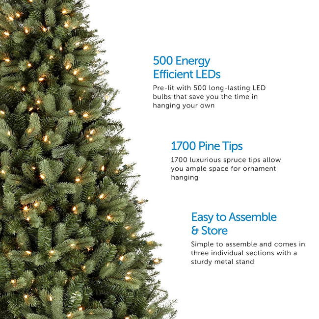 Close-Up of Winston Spruce Christmas Tree on Left Side of Image. 3 Feature Call Outs on Right Side. White Background.