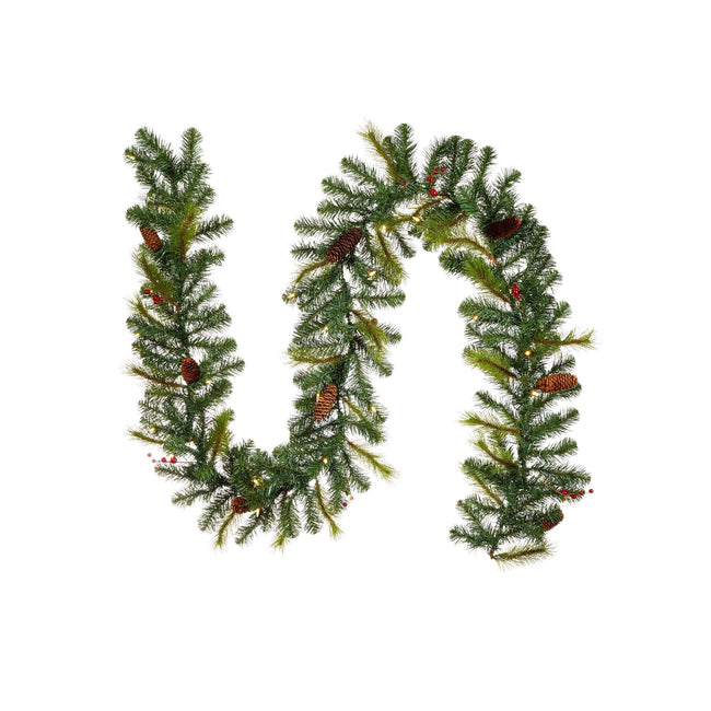 "NOMA 9 Ft Carolina Pine Garland with Lights and Pine Cones. Garland in a Sideways S ""Tilde"" Shape. White Background"