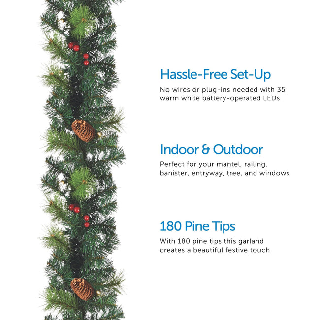 Carolina Pine Garland on Left of Image. 3 Feature Call Outs on Right of Image. White Background