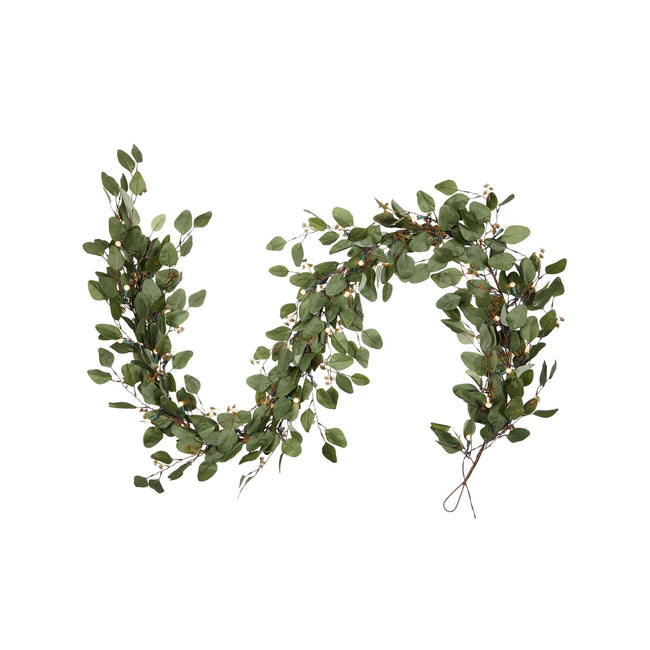 "NOMA 9 Ft Eucalyptus Garland with Lights and Pine Cones. Garland in a Sideways S ""Tilde"" Shape. White Background"