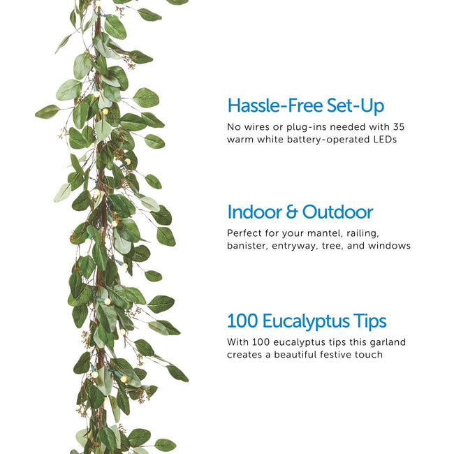 Eucalyptus Garland on Left Side. 3 Feature Call Outs on Right Side of Image. White Background.