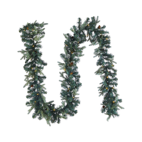 Mini Pinecone 9-Ft Pre-Lit Christmas Garland